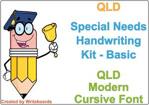 QLD Modern Cursive Font Special Needs Handwriting Kit includes worksheets and reusable writing board