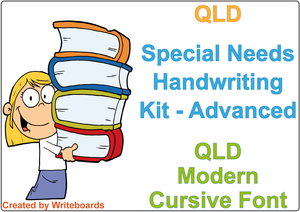 QLD Modern Cursive Font Special Needs Handwriting Kit. Special needs worksheets for QLD.