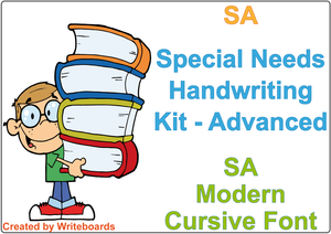 SA Modern Cursive Font Special Needs Handwriting Kit. Special needs worksheets for SA.