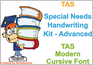 Special Needs Handwriting Kit for TAS Modern Cursive Font, Special Needs educational package for TAS