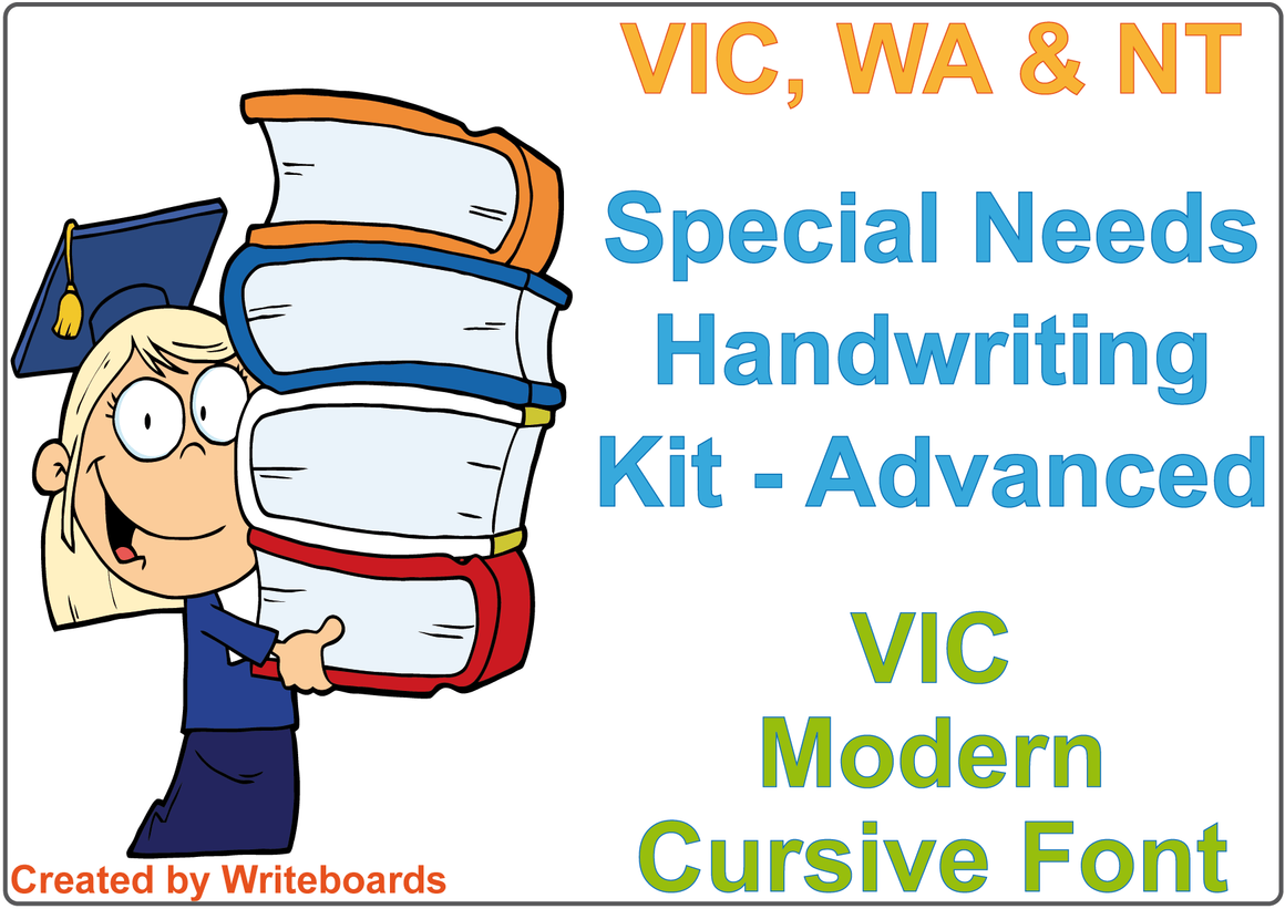 VIC Modern Cursive Font Special Needs Handwriting Kit. Special needs worksheets for VIC, WA and NT.