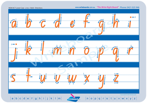 NSW Foundation Font alphabet handwriting worksheets, NSW and ACT alphabet tracing worksheets