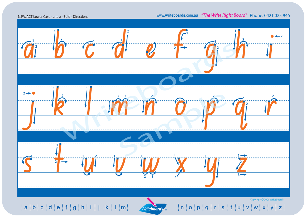 NSW Foundation Font lower case alphabet tracing worksheets with directional arrows.