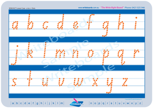 NSW Foundation Font Lowercase Alphabet Tracing Worksheets completed in Dots for Occupational Therapists and Tutors