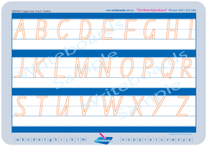 NSW Foundation Font uppercase alphabet handwriting worksheets, NSW and ACT uppercase alphabet tracing worksheets