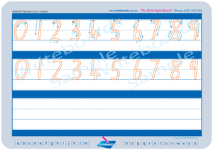 NSW Foundation Font number handwriting worksheets, NSW and ACT number tracing worksheets