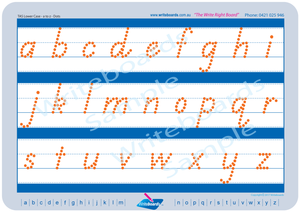 TAS Modern Cursive Font lowercase alphabet tracing worksheets completed using dots for teachers
