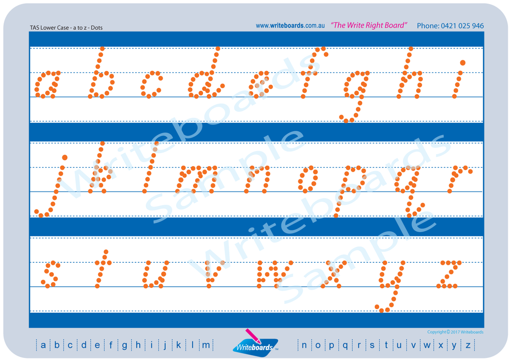 TAS Beginner Font lower case alphabet tracing worksheets completed using dots.