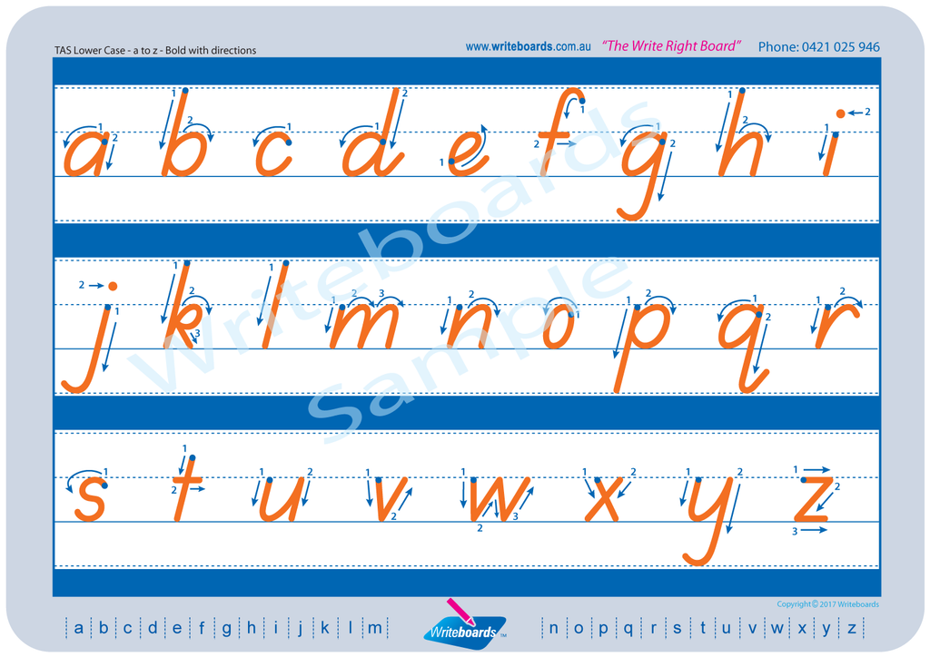 TAS Beginner Font lower case alphabet tracing worksheets with directional arrows.