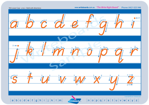 TAS Modern Cursive Font lowercase alphabet tracing worksheets with directional arrows for teachers