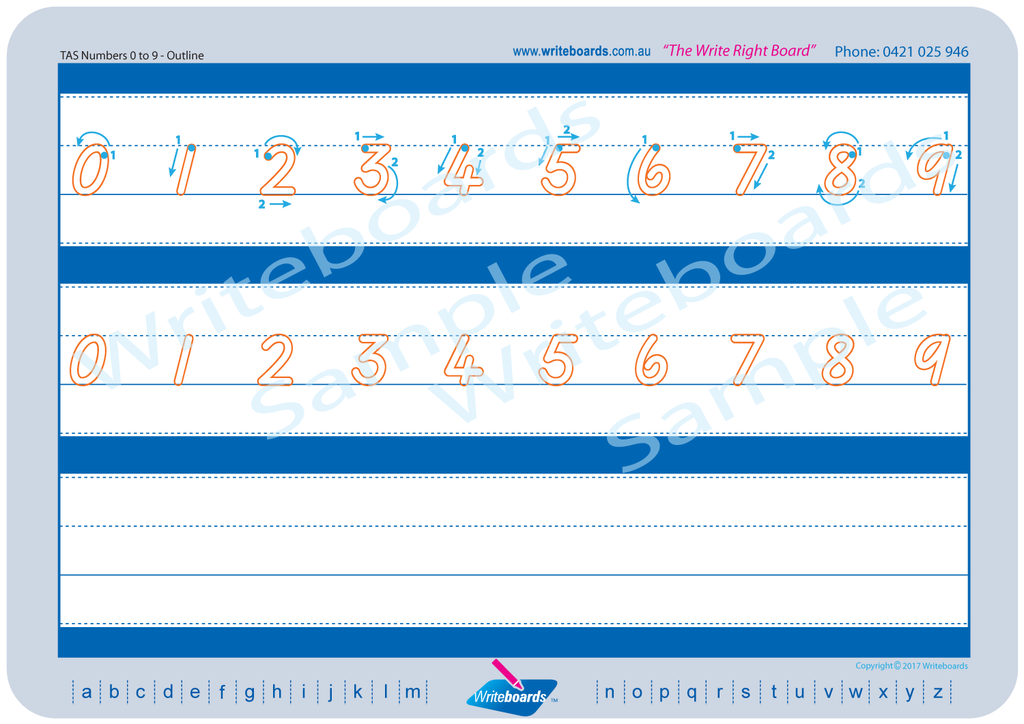 TAS Beginner Font numbers tracing worksheets completed in dots and outline lettering.