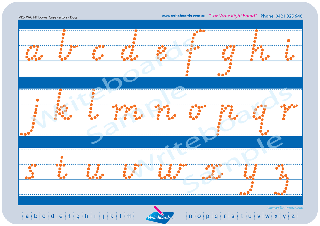 VIC Modern Cursive Font lower case alphabet tracing worksheets with directional arrows.