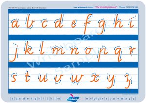 VIC Modern Cursive Font lower case alphabet tracing worksheets with directional arrows for teachers