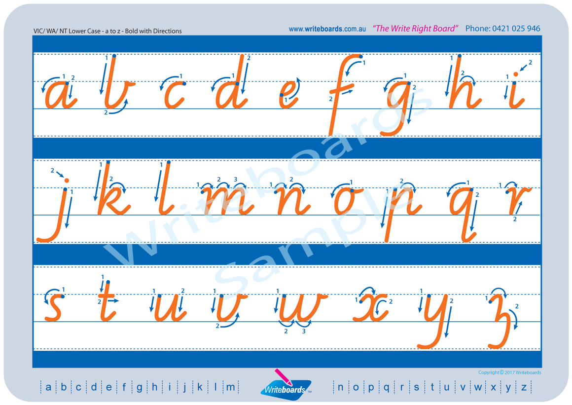 VIC Modern Cursive Font alphabet and number handwriting worksheets. VIC, NT and WA alphabet tracing worksheets.