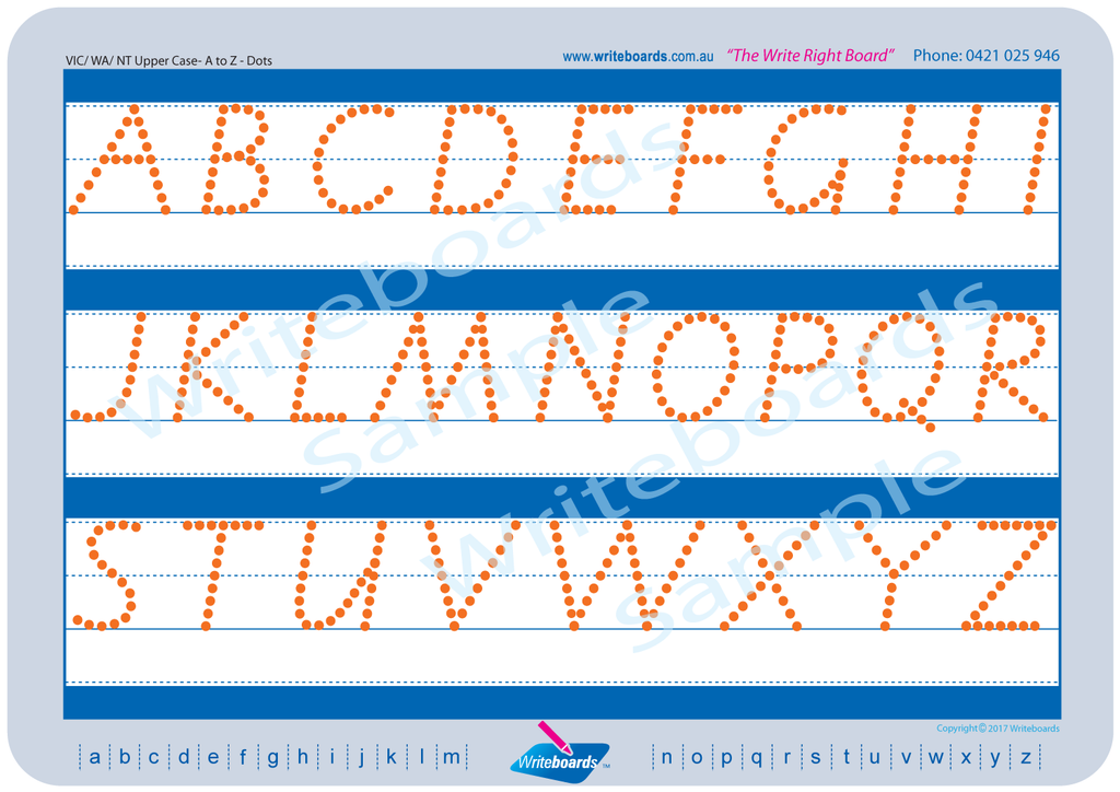 VIC Modern Cursive Font upper case alphabet tracing worksheets with directional arrows.