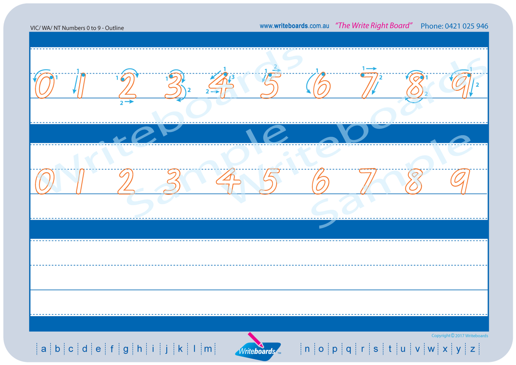 VIC Modern Cursive Font numbers from 0 to 9 tracing worksheets with directional arrows.