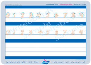 VIC Modern Cursive Font Number Tracing Worksheets with Directional Arrows for Occupational Therapists and Tutors