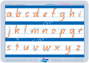 QLD Modern Cursive Font Lowercase Alphabet Tracing Worksheets with Directional Arrows for Occupational Therapists and Tutors