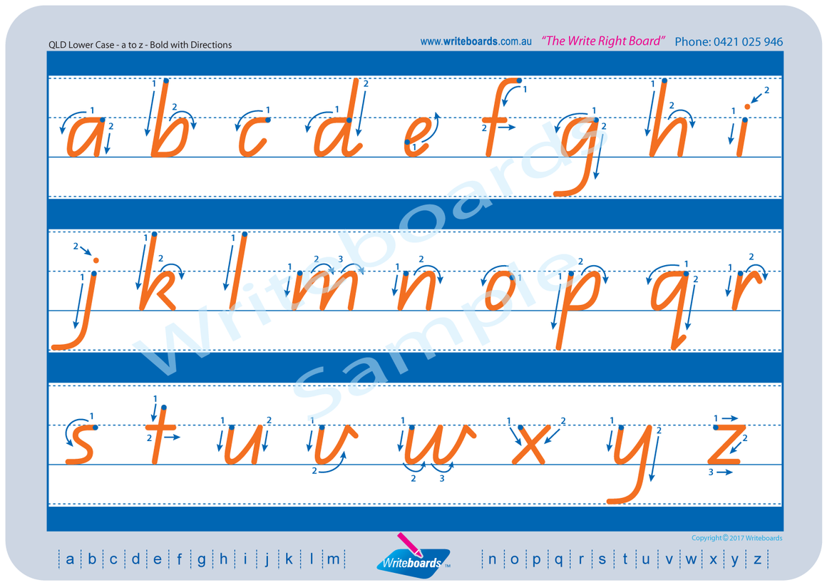 QLD Modern Cursive Font lower case alphabet tracing worksheets with directional arrows.