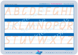 QLD Modern Cursive Font alphabet and number handwriting worksheets, QLD Uppercase alphabet tracing worksheets