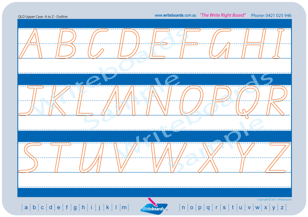 QLD Modern Cursive Font upper case alphabet tracing worksheets with directional arrows.