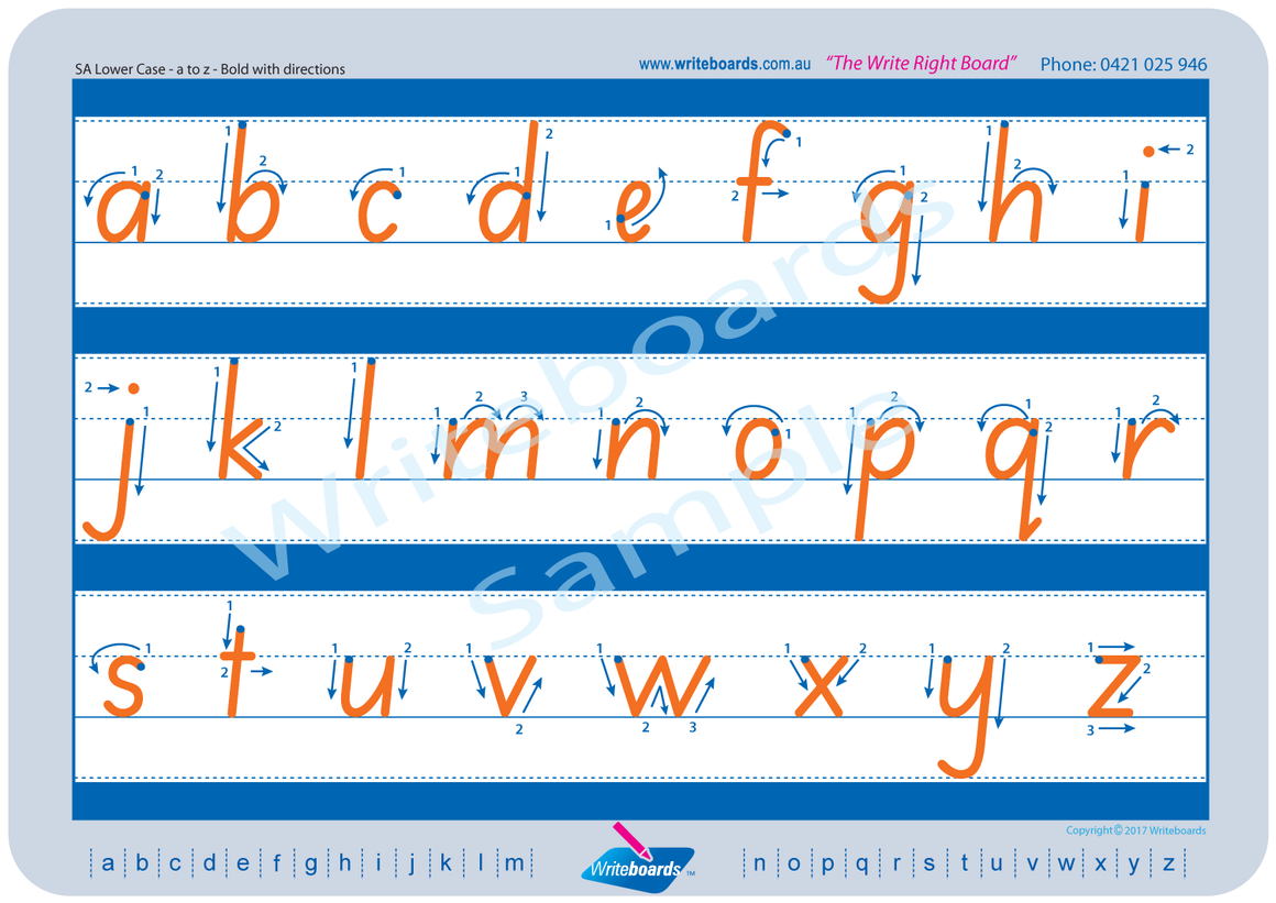 SA Modern Cursive Font lowercase alphabet tracing worksheets with directional arrows for teachers
