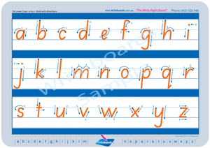 SA Modern Cursive Font lower case alphabet tracing worksheets with directional arrows.