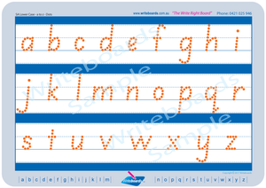 SA Modern Cursive Font lowercase alphabet tracing worksheets completed using dots for teachers