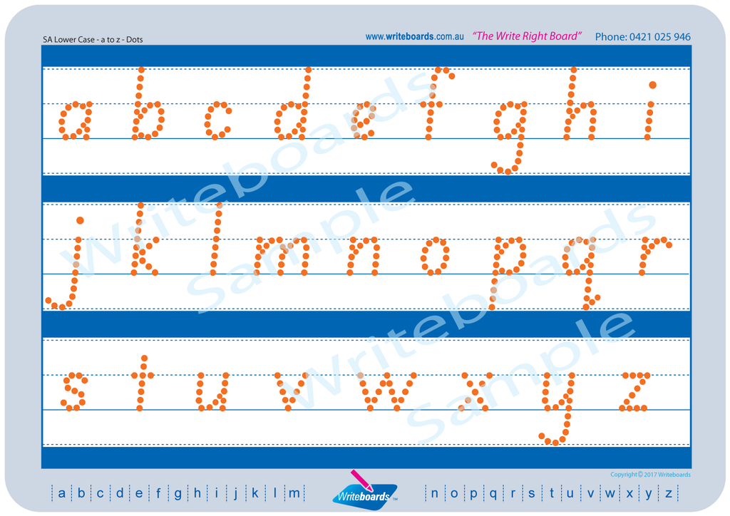 SA Modern Cursive Font lower case alphabet tracing worksheets completed using dots.