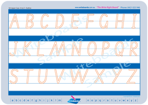SA Modern Cursive Font uppercase alphabet tracing worksheets completed in dot lettering for teachers