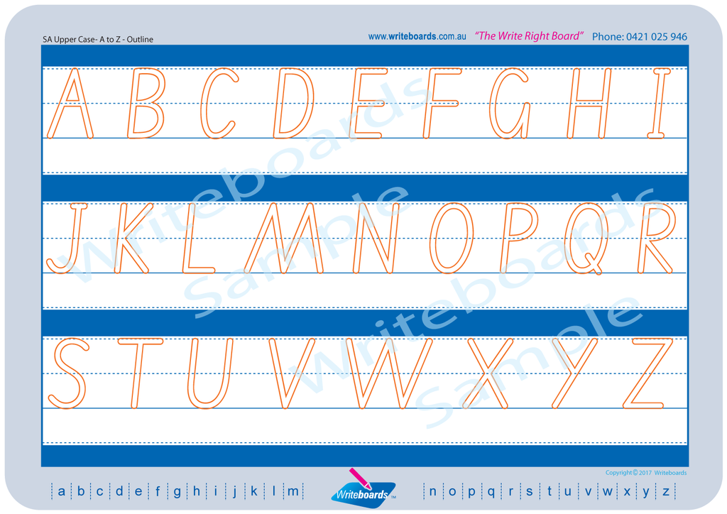 SA Modern Cursive Font upper case alphabet tracing worksheets with directional arrows.