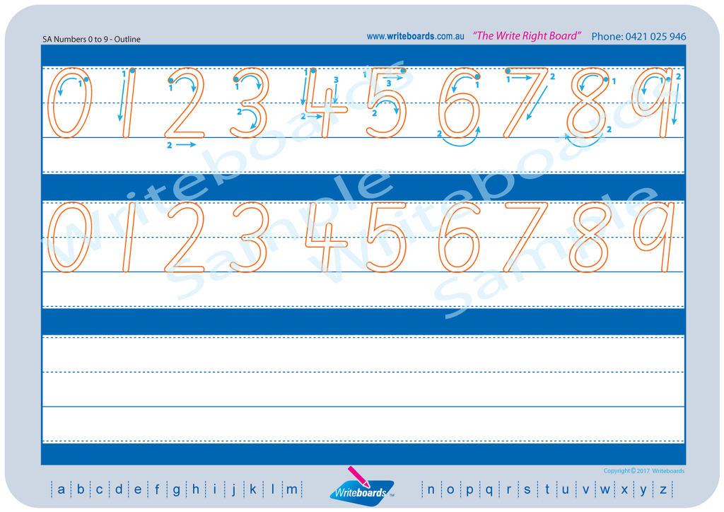 SA Modern Cursive Font alphabet and number handwriting worksheets. SA alphabet tracing worksheets.