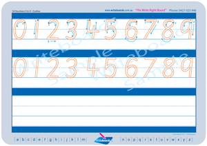 SA Modern Cursive Font numbers from 0 to 9 tracing worksheets with directional arrows.