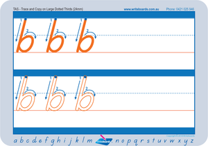 Large lowercase dotted third letter worksheets using TAS Modern Cursive Font for Occupational Therapists and Tutors