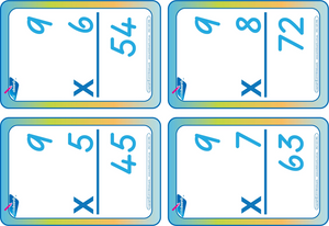 Times Tables Flash Cards completed using TAS Modern Cursive Font, TAS Times Tables flashcards