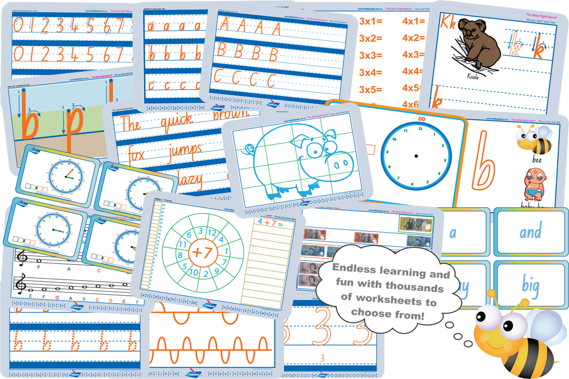 Writeboards Colourful Worksheets for Child Care. Great for School Readiness. We have all States of Australia.