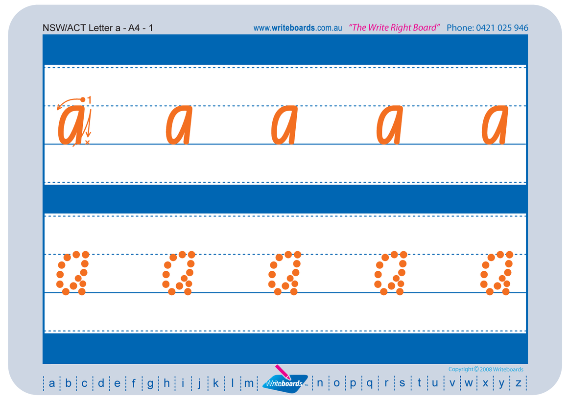 NSW Foundation Font alphabet and number handwriting worksheets, NSW and ACT alphabet and number tracing worksheets