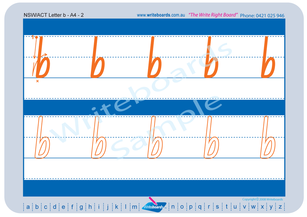 NSW Foundation Font alphabet tracing worksheets for the lower case letters.