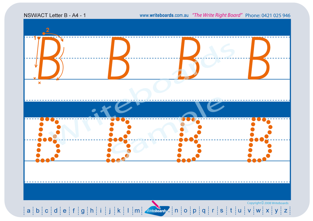NSW Foundation Font alphabet tracing worksheets for the upper case letters.