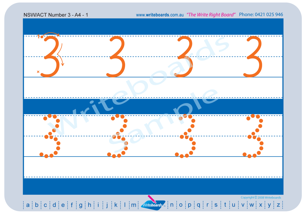 NSW Foundation Font number tracing worksheets for NSW and ACT teachers.
