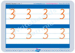 NSW Foundation Font Number Tracing Worksheets for Occupational Therapists and Tutors