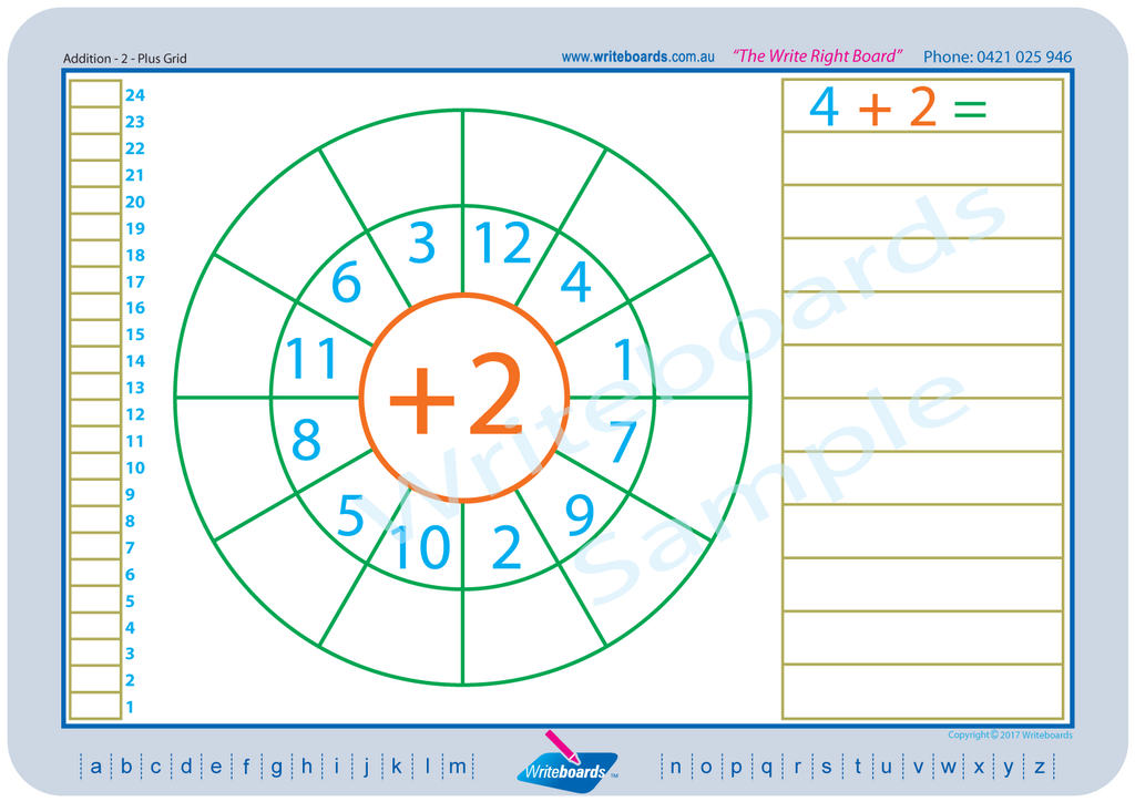Colour coded Maths worksheets that are easy to use. Worksheets that use grids. Writeboards