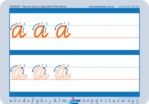 VIC Modern Cursive Font School Readiness Lowercase Alphabet Worksheets for Childcare and Kindergarten