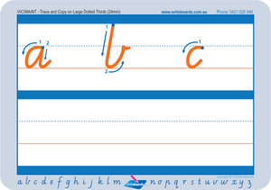 Learn to Form VIC Modern Cursive Font Letters using Dotted Thirds Worksheets. VIC handwriting worksheets.