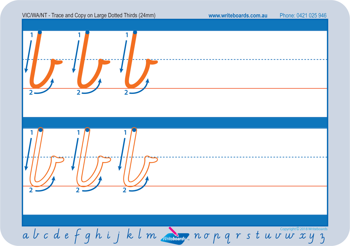 Large lowercase dotted third letter worksheets using VIC Modern Cursive Font for Occupational Therapists and Tutors