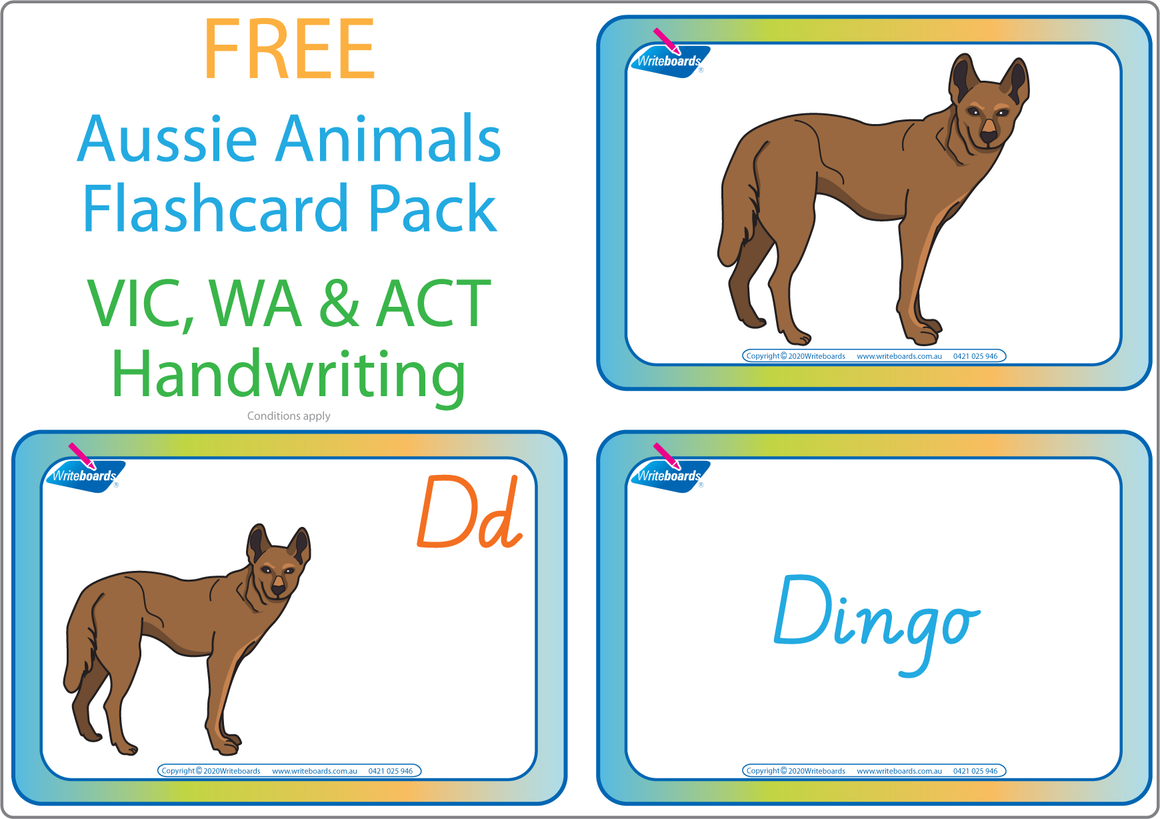 Free Australian Animal Alphabet Flashcards for VIC, WA & NT Handwriting, Free VIC Aussie Animal Flashcards