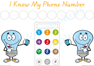 Free Phone Number Poster comes with our I Know My Phone Number Pack, VIC, WA Handwriting