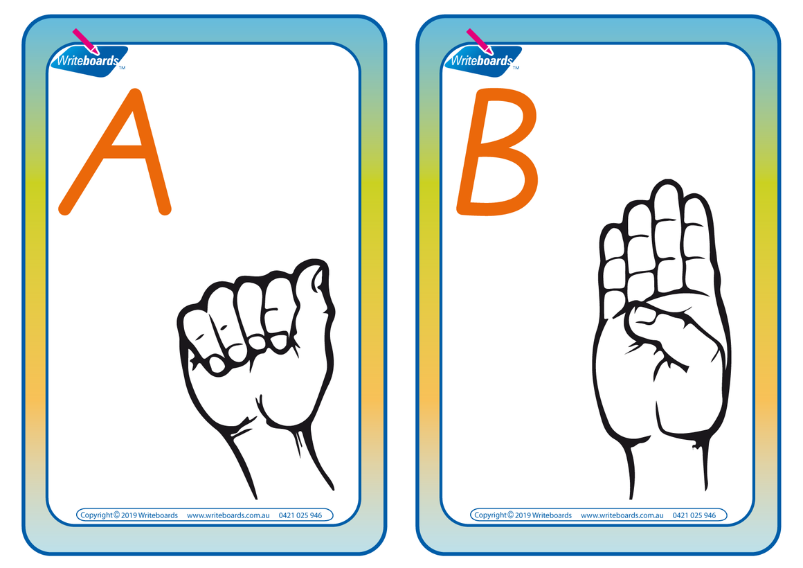 Sign Language Flashcards completed using VIC Modern Cursive Font.