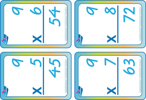 Times Tables Flash Cards using VIC Modern Cursive Font, VIC-WA-NT Times Tables,
