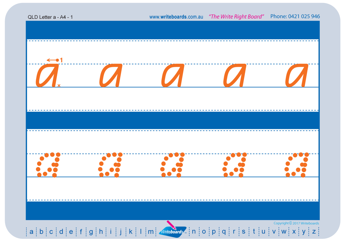 QLD Modern Cursive Font alphabet and number handwriting worksheets. QLD Tracing worksheets. QCursive.